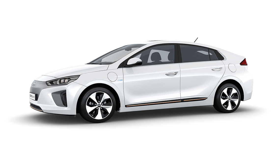 Side view of white Ioniq Electric