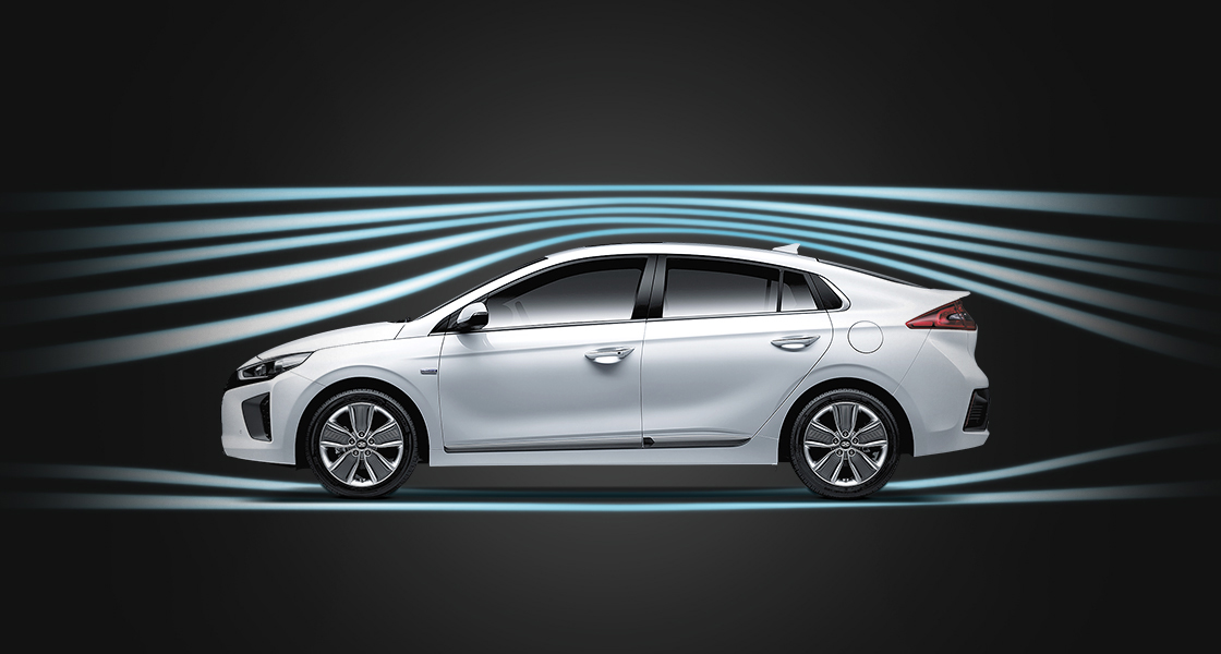 Aerodynamic graphic illustrated around the exterior of Ioniq Electric